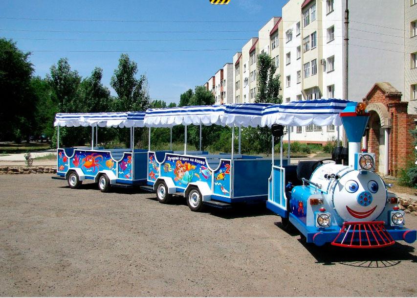 аттракцион паровозик, дизельный поезд, аттракцион автобус